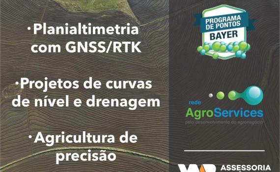 Resgate seus pontos da plataforma Agroservices da Bayer por serviços de planialtimetria, nivelamento e drenagem de terras baixas.